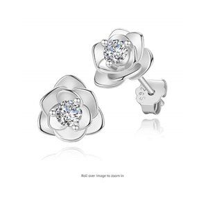 White Gold Plated Rose Flower Ear Studs